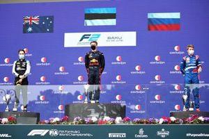 Race winner Juri Vips, Hitech Grand Prix, second place Oscar Piastri, Prema Powerteam and third place Robert Shwartzman, Prema Powerteam