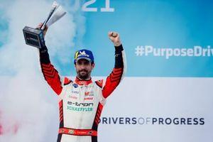 Lucas Di Grassi, Audi Sport ABT Schaeffler, third position, celebrates on the podium with his trophy