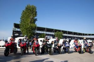 WorldSBK riders line up for the MWC square inauguration