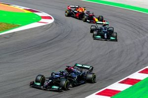 Lewis Hamilton, Mercedes W12, Valtteri Bottas, Mercedes W12, and Max Verstappen, Red Bull Racing RB16B