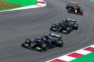 Valtteri Bottas, Mercedes W12, Lewis Hamilton, Mercedes W12, and Max Verstappen, Red Bull Racing RB16B