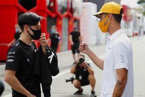 Guanyu Zhou, test driver, Alpine F1, with Daniel Ricciardo, McLaren