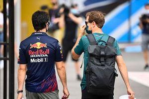 Sergio Perez, Red Bull Racing and Sebastian Vettel, Aston Martin