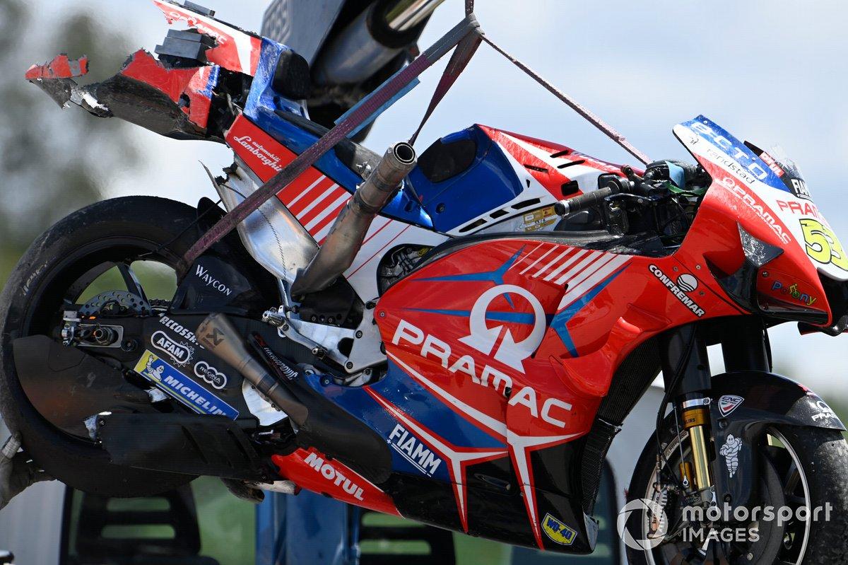 Moto dañada de Tito Rabat, Pramac Racing