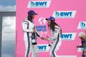 Jamie Chadwick, 1st position, and Irina Sidorkova, 2nd position, celebrate on the podium