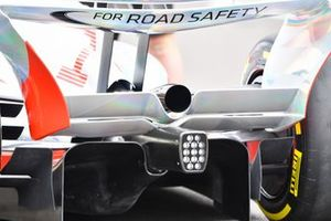 The 2022 Formula 1 car launch event on the Silverstone grid. Diffuser and exhaust detail