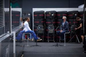 Lewis Hamilton, Mercedes speaks with David Coulthard, Channel 4 Presenter