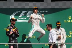 The podium (L to R): Daniel Ricciardo, Red Bull Racing, second; Nico Rosberg, Mercedes AMG F1, race winner; Lewis Hamilton, Mercedes AMG F1, third