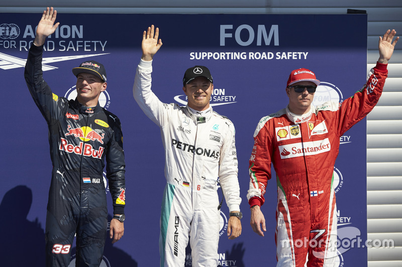 Qualifying top three in parc ferme (L to R): Max Verstappen, Red Bull Racing, second; Nico Rosberg,
