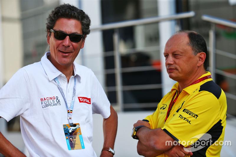 Caloni Pierre Gautier, Vicepresidente de Total y la división de Motorsport con Frederic Vasseur, Renault Sport F1 Team Racing Director