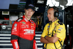 Brad Keselowski, Team Penske Ford talks to his crew chief Paul Wolfe