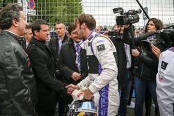 Jean Eric Vergne, Virgen del DS Racing con Manuel Valls, primer ministro de Francia, Alejandro Agag,