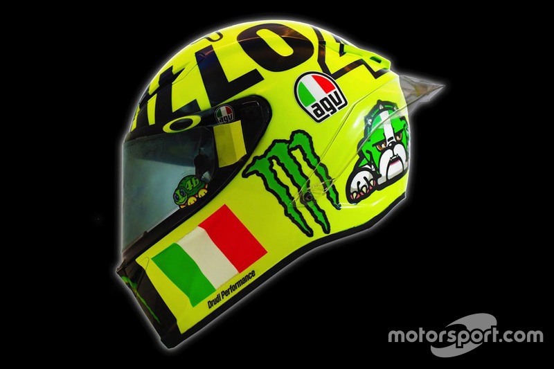 New helmet of Valentino Rossi, Yamaha Factory Racing