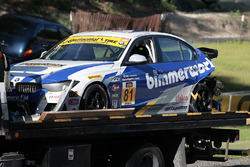 #81 BimmerWorld Racing BMW 328i: Jerry Kaufman, Kyle Tilley after a crash
