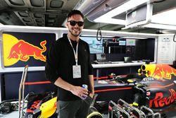Actor Nicholas Hoult in the Red Bull Racing garage