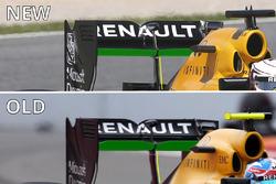 Comparaison des ailerons arrière de la Renault Sport F1 Team R.S.16