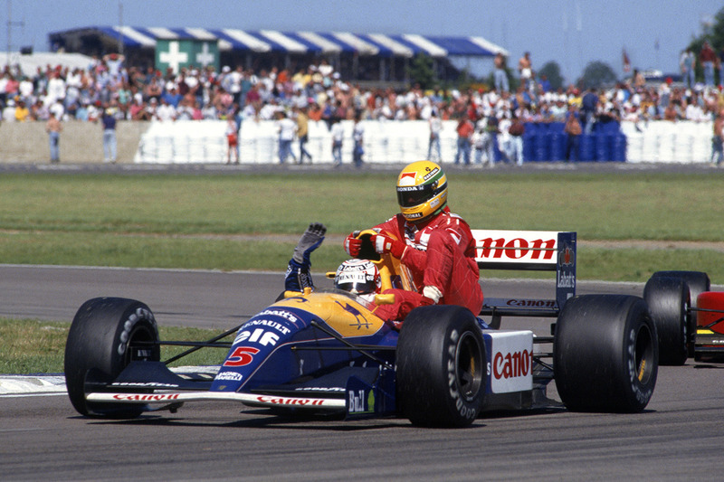 Найджел Мэнселл, Williams Renault FW14, Айртон Сенна, McLaren MP4/6-Honda a lift