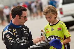 Simon Pagenaud, Team Penske Chevrolet signing an autograph