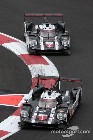 #1 Porsche Team Porsche 919 Hybrid: Timo Bernhard, Mark Webber, Brendon Hartley; #2 Porsche Team Porsche 919 Hybrid: Romain Dumas, Neel Jani, Marc Lieb