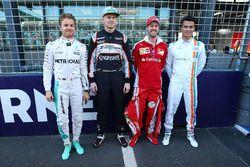 Nico Rosberg, Mercedes AMG F1 Team; Nico Hülkenberg, Sahara Force India F1; Sebastian Vettel, Ferrari und Pascal Wehrlein, Manor Racing