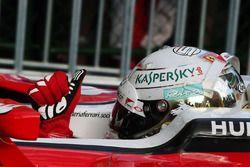 Sebastian Vettel, Ferrari SF16-H celebrates his third position in parc ferme