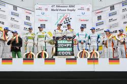Podium: second place #75 Zakspeed, Mercedes AMG-GT3: Sebastian Asch, Kenneth Heyer; Winners #28 Land Motorsport, Audi R8 LMS: Christopher Mies, Connor De Phillippi; third place #4 Team Falken, Porsche 911 GT3-R: Wolf Henzler, Martin Ragginger.