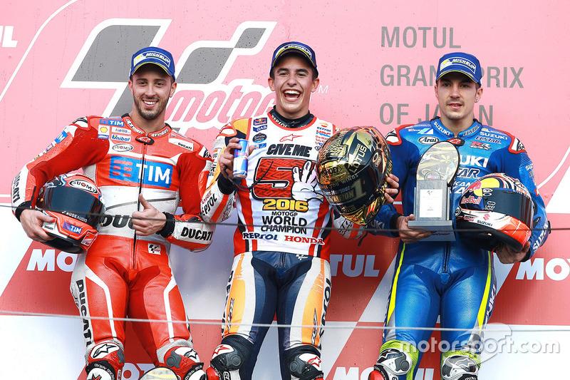 Podio: Marc Marquez ganador de la carrera, Repsol Honda Team, Andrea Dovizioso segundo clasificado, Ducati Team, Maverick Viñales tercer clasificado, Team Suzuki Ecstar MotoGP