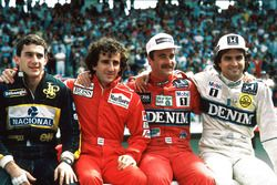 Les prétendants au titre de Champion du monde 1986 : Ayrton Senna, Lotus, Alain Prost, McLaren, Nigel Mansell, Williams, Nelson PIquet, Williams