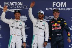 Qualifying top three in parc ferme (L to R): Nico Rosberg, Mercedes AMG F1, second; Lewis Hamilton, Mercedes AMG F1, pole position; Max Verstappen, Red Bull Racing, third