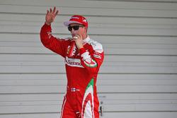 Kimi Raikkonen, Ferrari celebra su tercera posición en la clasificación de parc ferme