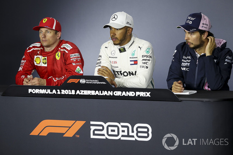 Kimi Raikkonen, Ferrari, Lewis Hamilton, Mercedes-AMG F1 and Sergio Perez, Force India in the Press Conference