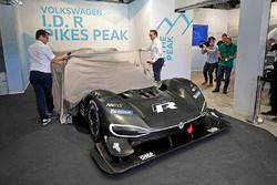 Francois-Xavier Demaison, Sven Smeets, Head of Volkswagen Motorsport unveil the Volkswagen I.D. R Pikes Peak