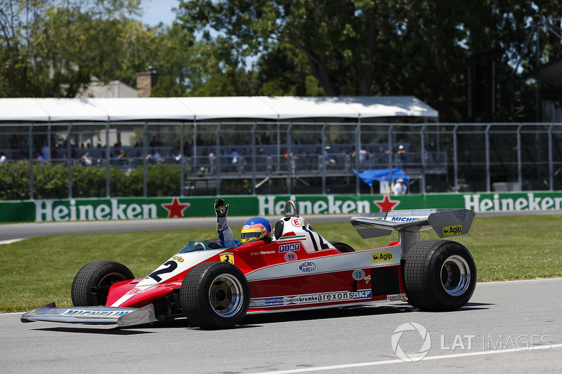 Jacques Villeneuve drives the Ferrari 312T3 driven by his father Gilles Villeneuve on a demonstratio