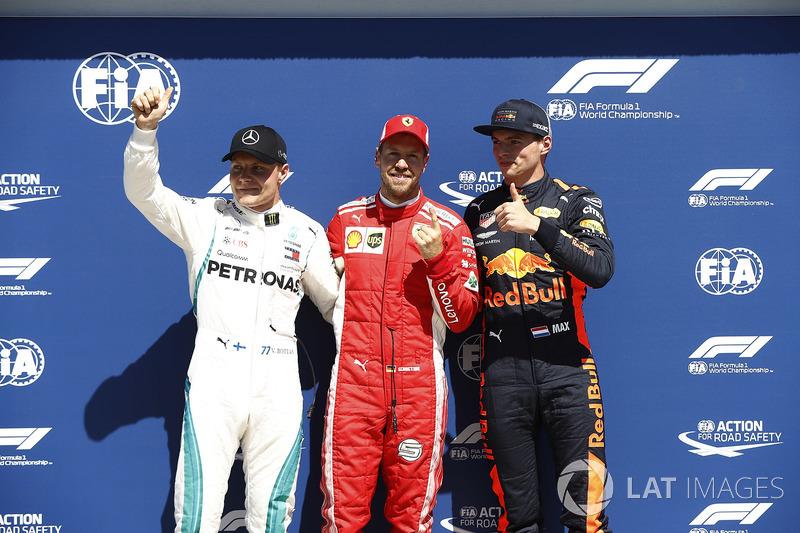 Valtteri Bottas, Mercedes-AMG F1, pole sitter Sebastian Vettel, Ferrari and Max Verstappen, Red Bull