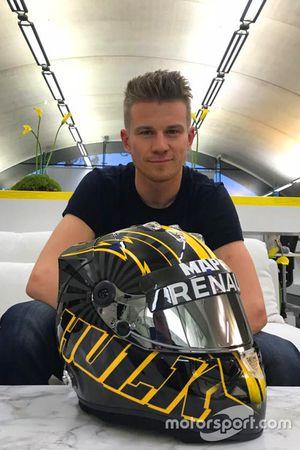 Nico Hulkenberg with his new helmet design