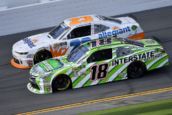 Daniel Suarez, Joe Gibbs Racing, Interstate Batteries Toyota Camry and Spencer Gallagher, GMS Racing