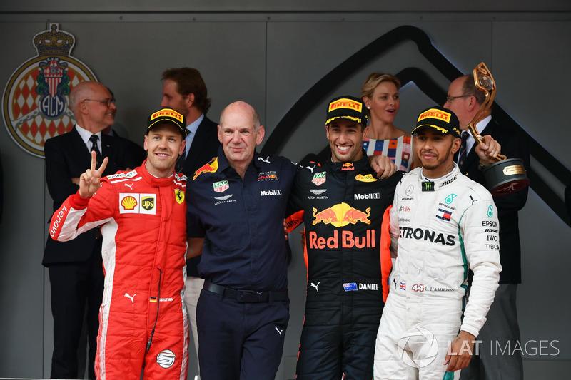Podium: 1. Daniel Ricciard, Red Bull Racing, 2. Sebastian Vettel, Ferrari, 3. Lewis Hamilton, Mercedes-AMG F1