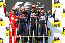 Podium: second place Fernando Alonso, Ferrari, Darren Nicholls, Red Bull Racing, Race winner Mark Webber, Red Bull Racing, third place Sebastian Vettel, Red Bull Racing