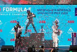 Jean-Eric Vergne, Techeetah, Andre Lotterer, Techeetah enjoy their Mumm Champagne on the podium with Sébastien Buemi, Renault e.Dams