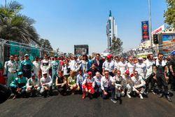 Coureursfoto met Jean Todt, FIA president, Alejandro Agag, Formule E CEO
