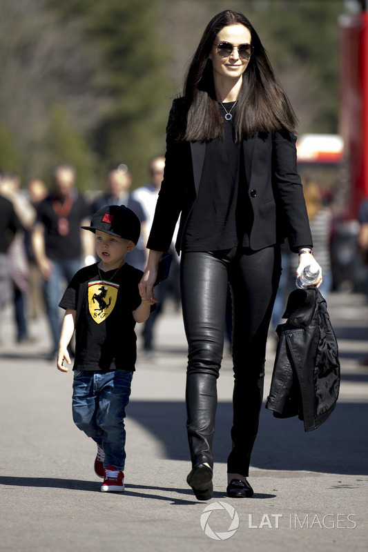 Minttu Virtanen, wife of Kimi Raikkonen, Ferrari with son Robin Raikkonen