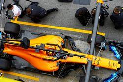 Stoffel Vandoorne, McLaren MCL33, pit stop action