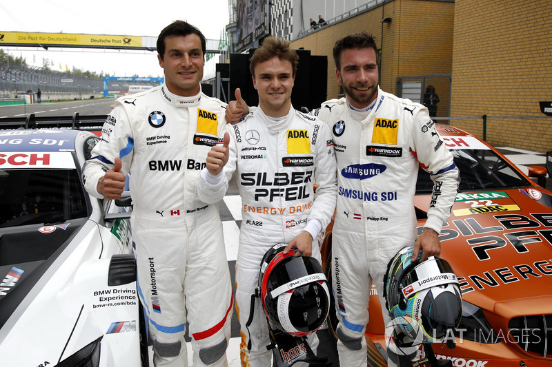 Top 3 after qualifying, Pole position for Lucas Auer, Mercedes-AMG Team HWA, second place Philipp Eng, BMW Team RBM, third place #Bruno Spengler, BMW Team RBM