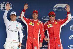 Top three Qualifiers, Valtteri Bottas, Mercedes AMG F1, pole sitter Sebastian Vettel, Ferrari, and Kimi Raikkonen, Ferrari
