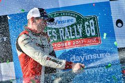Champagne sul podio, Elfyn Evans, Daniel Barritt, Ford Fiesta WRC, M-Sport