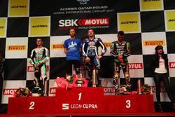 Podium: Race winner Lucas Mahias, GRT Yamaha Official WorldSSP Team, second place Jules Cluzel, CIA