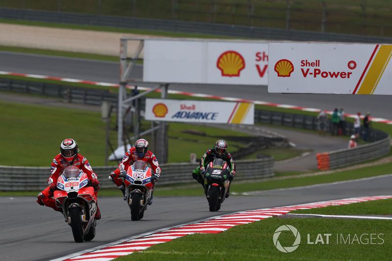 Jorge Lorenzo, Ducati Team, Andrea Dovizioso, Ducati Team, Johann Zarco, Monster Yamaha Tech 3