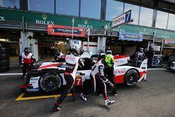 #7 Toyota Gazoo Racing Toyota TS050: Mike Conway, Kamui Kobayashi, Jose Maria Lopez, in the pitlane