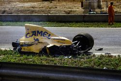 The crashed Lotus of Martin Donnelly after his huge incident