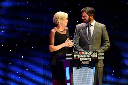 Martin Truex Jr., Furniture Row Racing, and girlfriend Sherry Pollex speak on stage after accepting the Myers Brothers Award